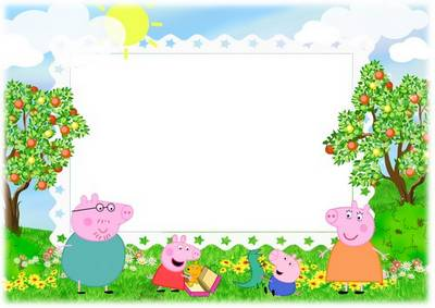 Peppa Pig Children Photoshop frame template - PSD file + PNG photo frame download