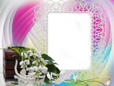 Delicate spring photo frame psd template for female photos - Pearl