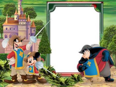 Children Photoshop frame psd template with cartoon characters