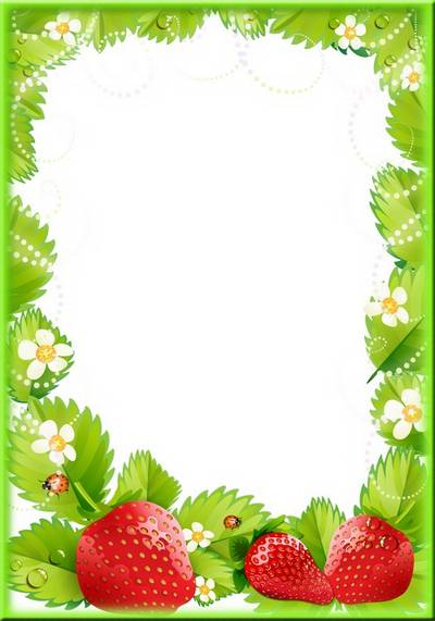 Fruit photo frame template psd file with strawberry