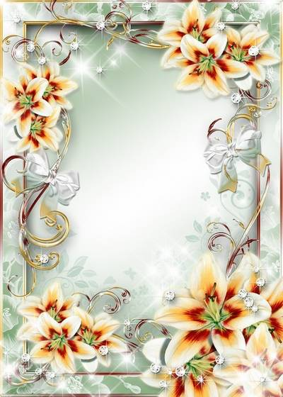 Frame for Photoshop with lily - Slowly pour tune - slowly