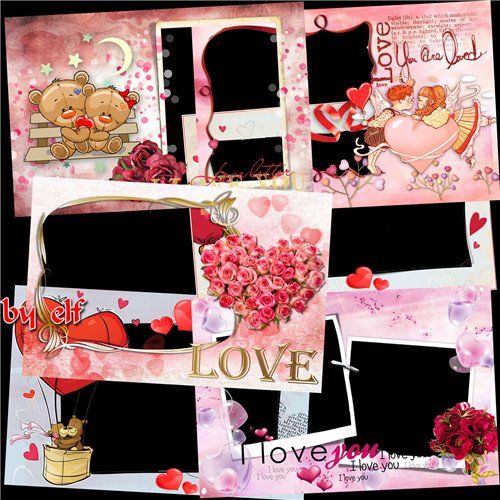 Free Set 7 Love photo frames PNG format - Love you like love only once