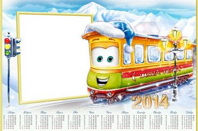 Photo frame calendars - Train song sings and distributes gifts
