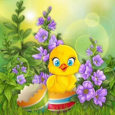 Yellow chick on grass,  Easter PSD source for design in Photoshop