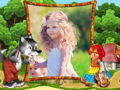 Frame psd template for baby photo with a red cap and a gray wolf (the heroes of children's fairy tales)