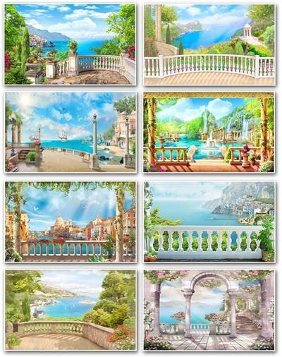 Photoshop Backgrounds - Terrace overlooking the sea, 27 JPG, 2300x1400 px