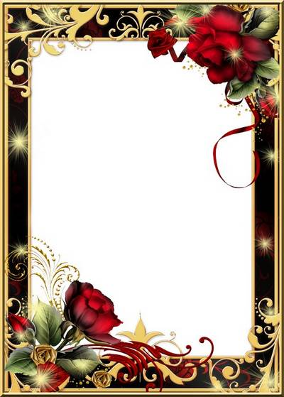 Frame for Photoshop - Roses and gold ornaments