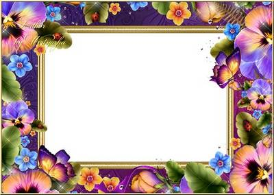 Frame for Photoshop - Pansies, delicate flowers