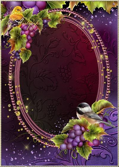 Frame for Photoshop - birdies on a bunch of grapes