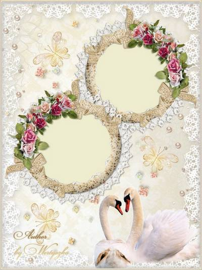 Wedding frame for Photoshop - Swans, roses, butterflies, lace