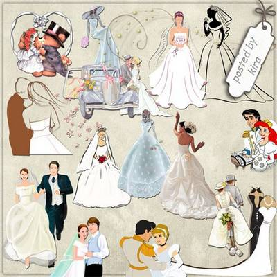 Wedding PNG Images - Brides and Grooms (contour and cartoon) - 131 PNG file, transparent background