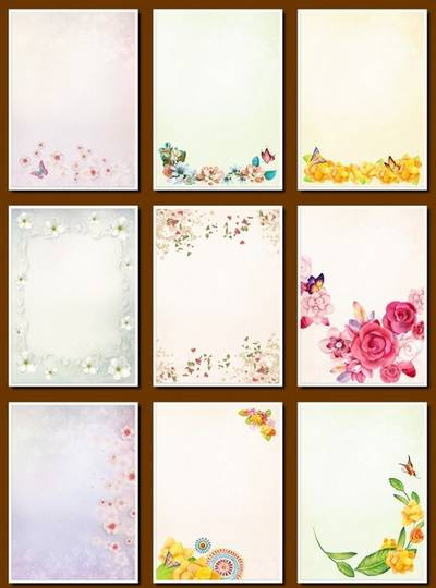 Flower Background - 29 png images Floral Backgrounds, A4, 1240х1753 px