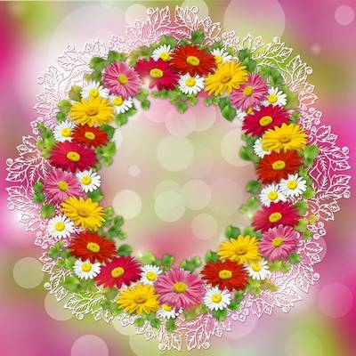 Free PSD file - Wreath of flowers