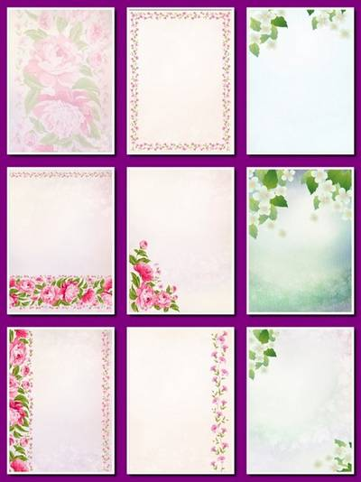 Flower Background - 12 png images Floral Backgrounds, A4, 2480х3507 px