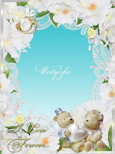 Wedding frame for the photo - A pair of lovely white flowers and teddy bears
