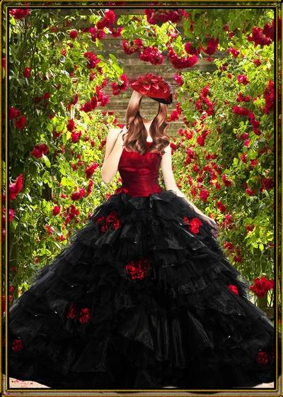 Multi-layered woman psd template - Girl in the chic black dress of red maquis