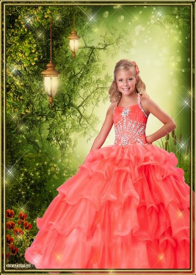 Child's template - Chic brightly-orange dress for a girl