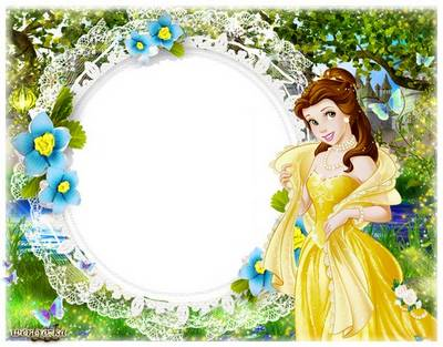 Children frame for Photoshop - Princess and turquoise flowers