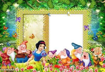 Kid s frame psd snow white princess gnomes on the glade free download