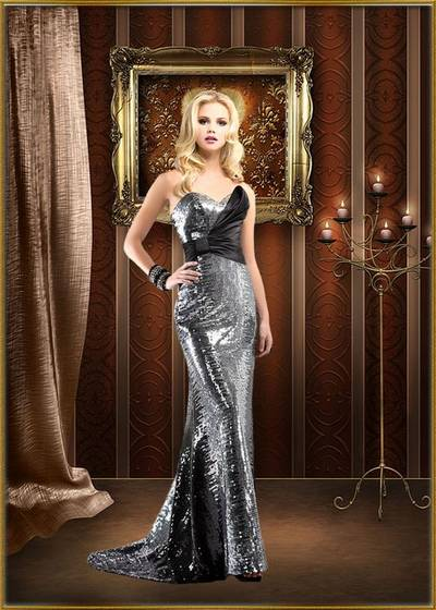 Female templates for Photoshop - Girls in silver evening dress