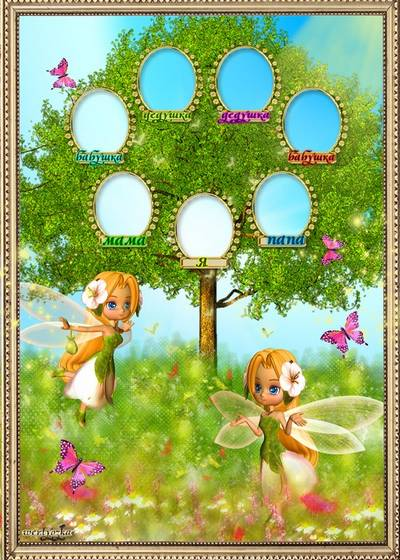 Children vignette - Family tree with fairies