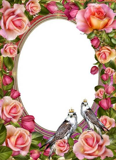 Beautiful photo frame psd with flowers of roses and birds for Photoshop
