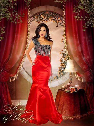 Template for Photoshop - Girl in a luxurious red dress