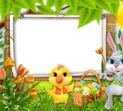 Holiday photo frame template for Easter - set 20 photo frames PNG format Bright Easter