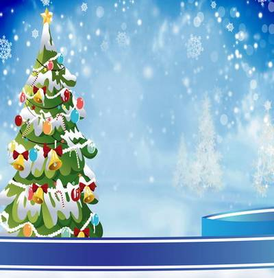 New year and Christmas winter backgrounds for greeting cards with Christmas trees, snowmen, decorations