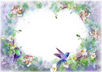 Free Photoshop frame, layered psd file with birds and flowers