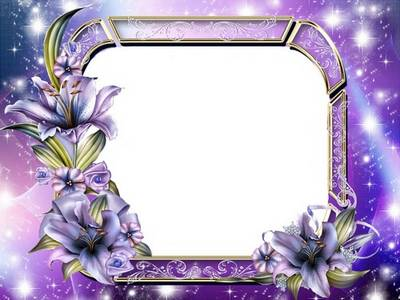Free Purple Photo Frame PSD with Lily