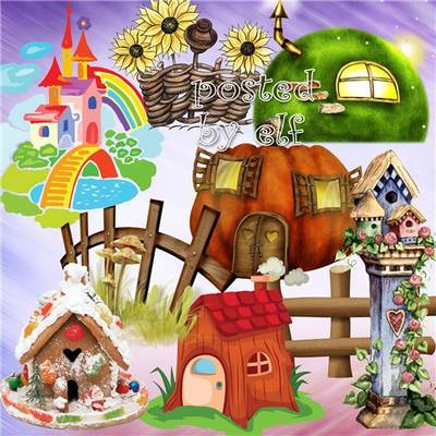Children's clipart 79 PNG images - Fences, houses, toys, animals and other on a transparent background