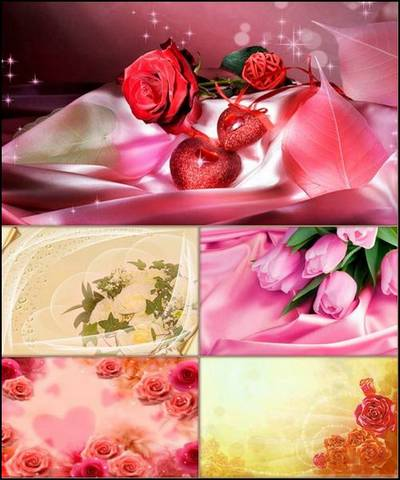 Set of romantic backgrounds with flowers