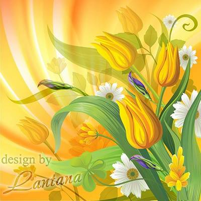 Background psd - Give yellow tulips