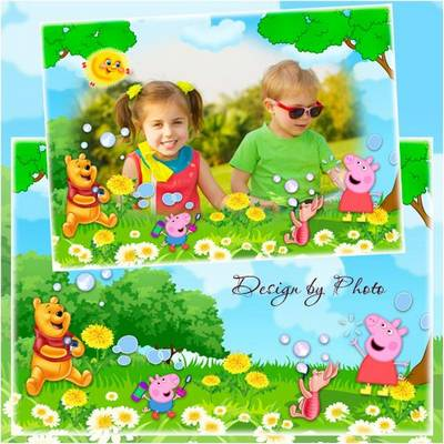 Children Photoshop frame PSD for photo - Soap bubbles