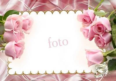 Wedding Frame - Pink roses blooming among our love