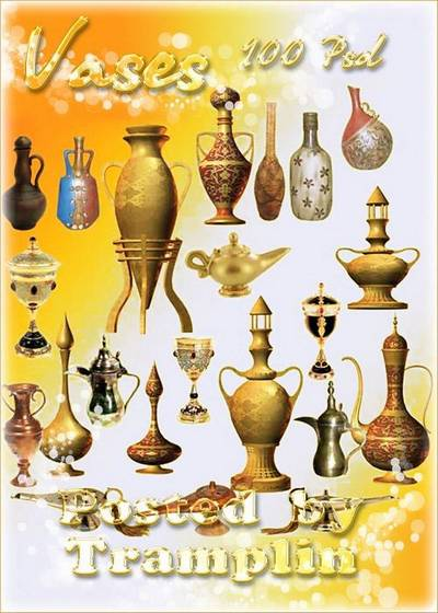 Clipart in Psd - vessels, vases, pitchers, and oriental lamps, flower pots