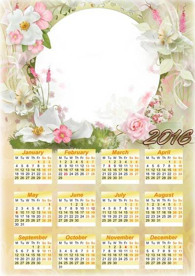Free Calendar frame psd template for 2016 with flowers