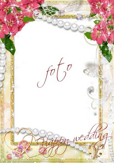 Free Wedding photo frame psd + png format - Happy Wedding