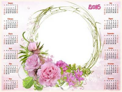 2016 - 2017 Free PSD Calendar frame in pink style with beautiful flowers