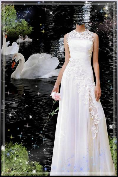 Free Women suit psd Lady in a white dress, a pond with white swans free download