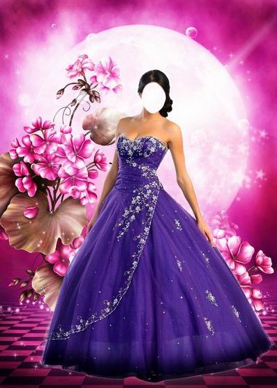 Free Female Suit psd for Photoshop - Wonderful lilac dress