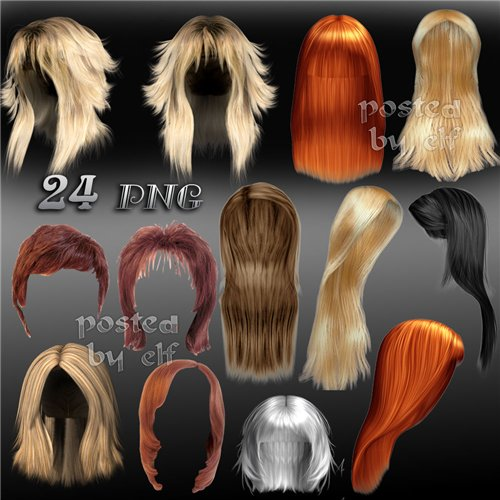 Free Photoshop clipart  24 PNG file, 151 images, 1615х1200 px, 3090х2510 px painted and natural Hairstyles, hair, wigs on a transparent background free download