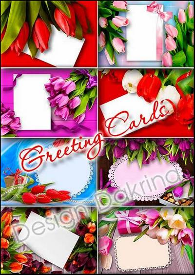 Free Postcard Clipart 10 PSD Greeting card with tulips free download