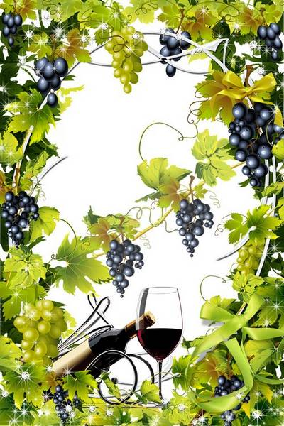 Free Frame psd - Clusters grapes in a garden