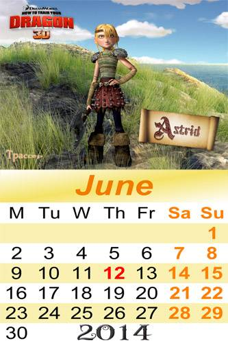 Calendars for 2014  – How to Train Your Dragon