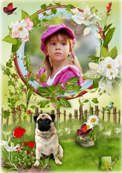 Free Animal photo frame psd with a dog pug and flowers free download from google drive