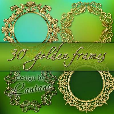 Free Gold Frame set PSD - golden round frames free download from google drive