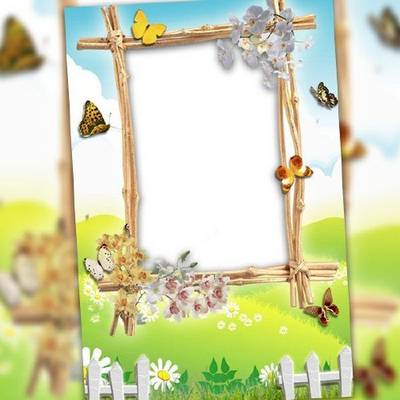 Spring butterflies photo frame template free download