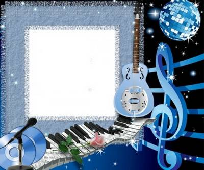 Free music frame psd in blue style free download